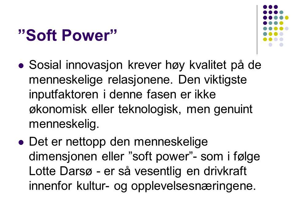 Soft Power Sosial innovasjon krever høy kvalitet på de menneskelige relasjonene.