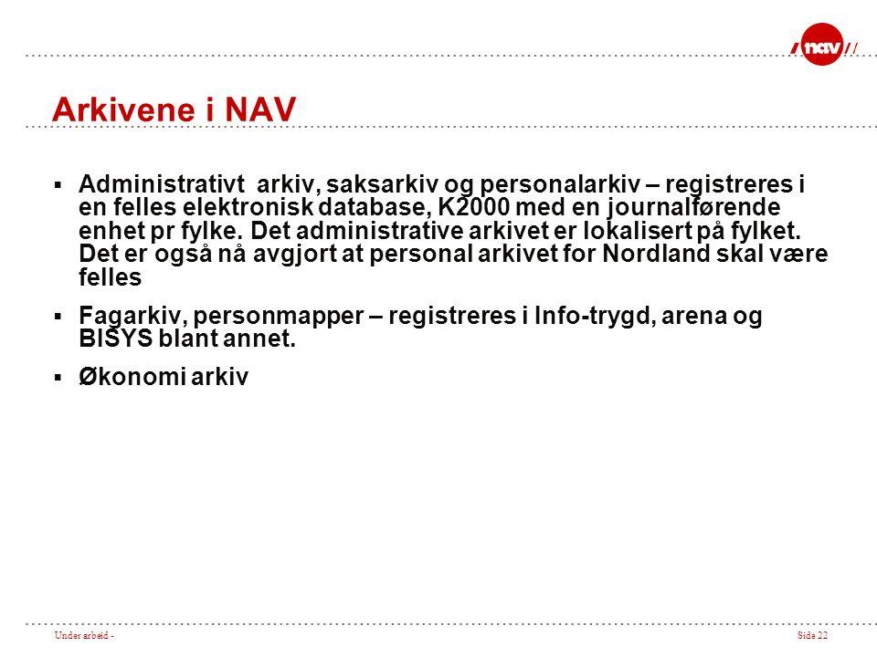 Under arbeid -Side 22 Arkivene i NAV  Administrativt arkiv, saksarkiv og personalarkiv – registreres i en felles elektronisk database, K2000 med en journalførende enhet pr fylke.