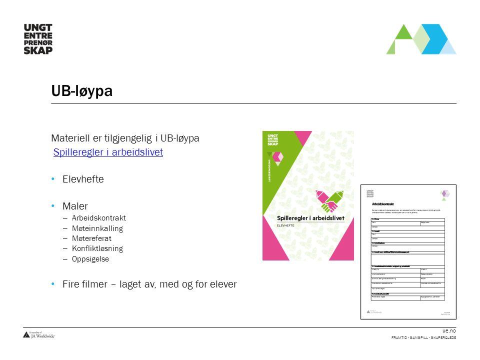 ue.no UB-løypa Materiell er tilgjengelig i UB-løypa Spilleregler i arbeidslivet Elevhefte Maler – Arbeidskontrakt – Møteinnkalling – Møtereferat – Kon