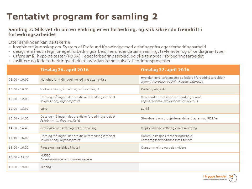 Tentativt program for samling 2 Tirsdag 26.april 2016Onsdag 27.