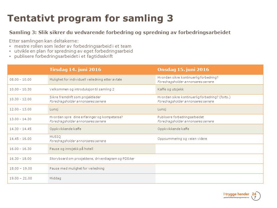 Tentativt program for samling 3 Tirsdag 14. juni 2016Onsdag 15.