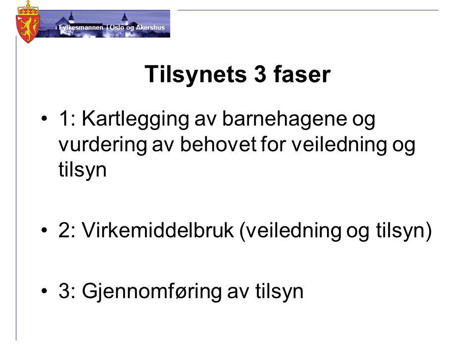 Fylkesmannen i Oslo og Akershus Tilsynets 3 faser 1: Kartlegging av barnehagene og vurdering av behovet for veiledning og tilsyn 2: Virkemiddelbruk (v