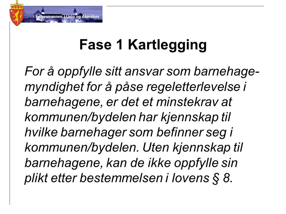 Fylkesmannen i Oslo og Akershus Fase 1 Kartlegging For å oppfylle sitt ansvar som barnehage- myndighet for å påse regeletterlevelse i barnehagene, er
