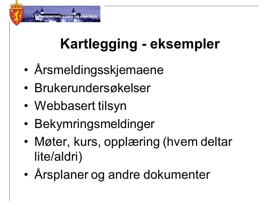 Fylkesmannen i Oslo og Akershus Kartlegging - eksempler Årsmeldingsskjemaene Brukerundersøkelser Webbasert tilsyn Bekymringsmeldinger Møter, kurs, opp