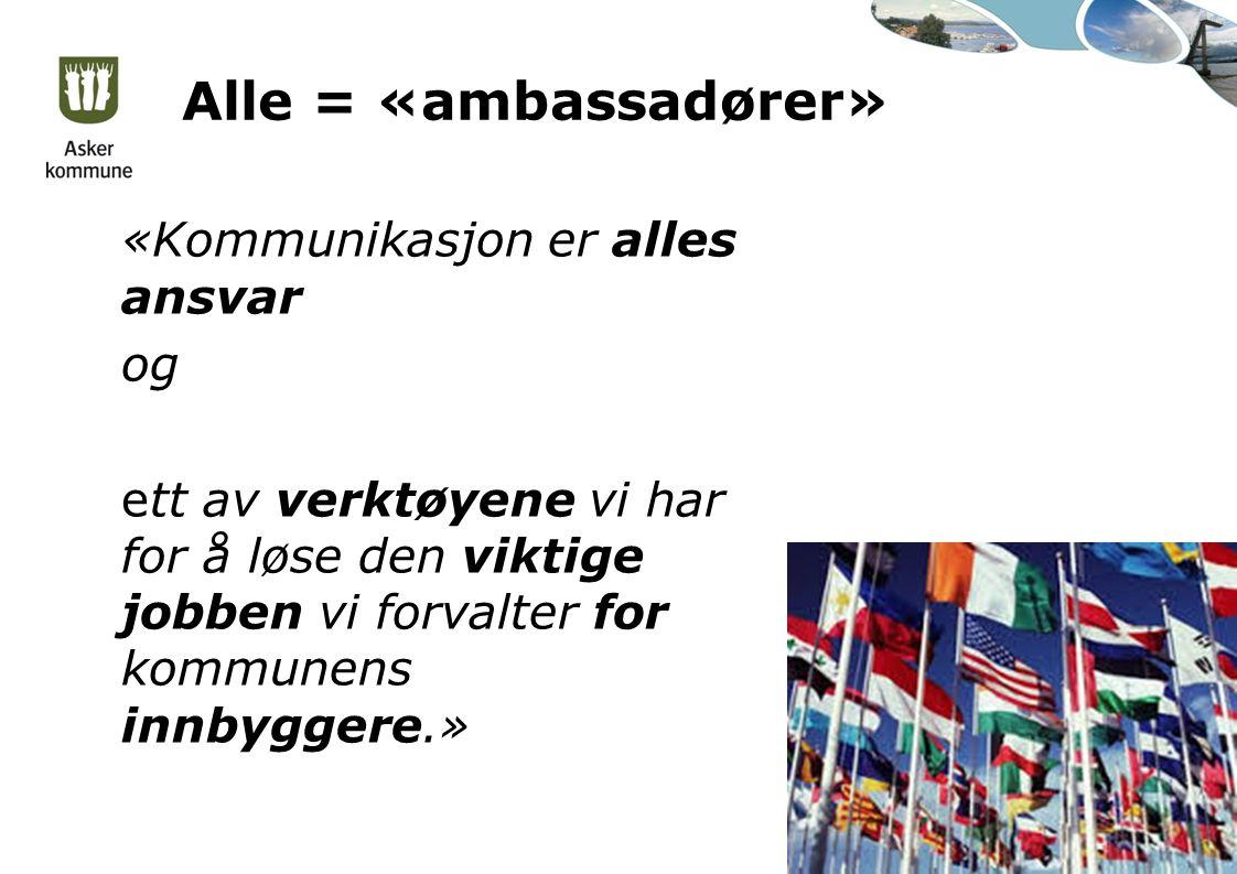 Alle = «ambassadører» «Kommunikasjon er alles ansvar og ett av verktøyene vi har for å løse den viktige jobben vi forvalter for kommunens innbyggere.»