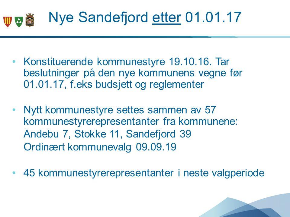 Nye Sandefjord etter 01.01.17 Konstituerende kommunestyre 19.10.16.