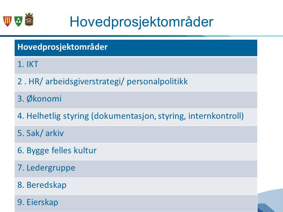 Hovedprosjektområder 1. IKT 2. HR/ arbeidsgiverstrategi/ personalpolitikk 3.