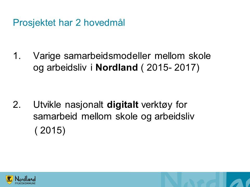 Prosjektet har 2 hovedmål 1.Varige samarbeidsmodeller mellom skole og arbeidsliv i Nordland ( 2015- 2017) 2.Utvikle nasjonalt digitalt verktøy for samarbeid mellom skole og arbeidsliv ( 2015)