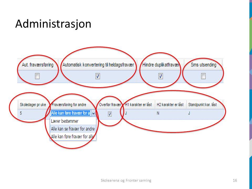 Administrasjon Skolearena og Fronter saming16