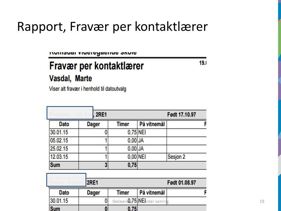 Rapport, Fravær per kontaktlærer Skolearena og Fronter saming19