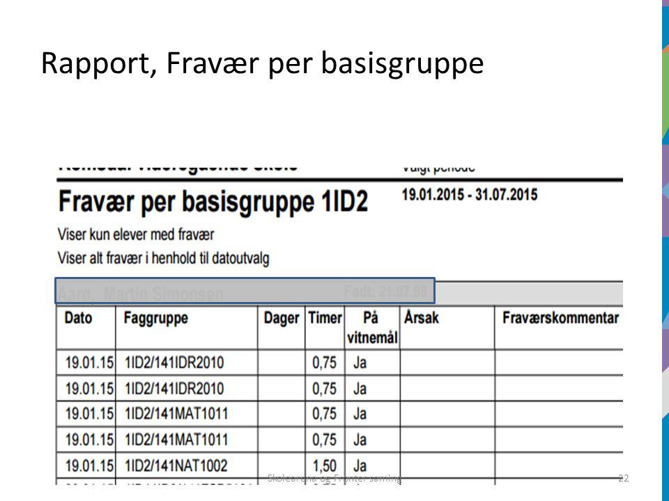 Rapport, Fravær per basisgruppe Skolearena og Fronter saming22