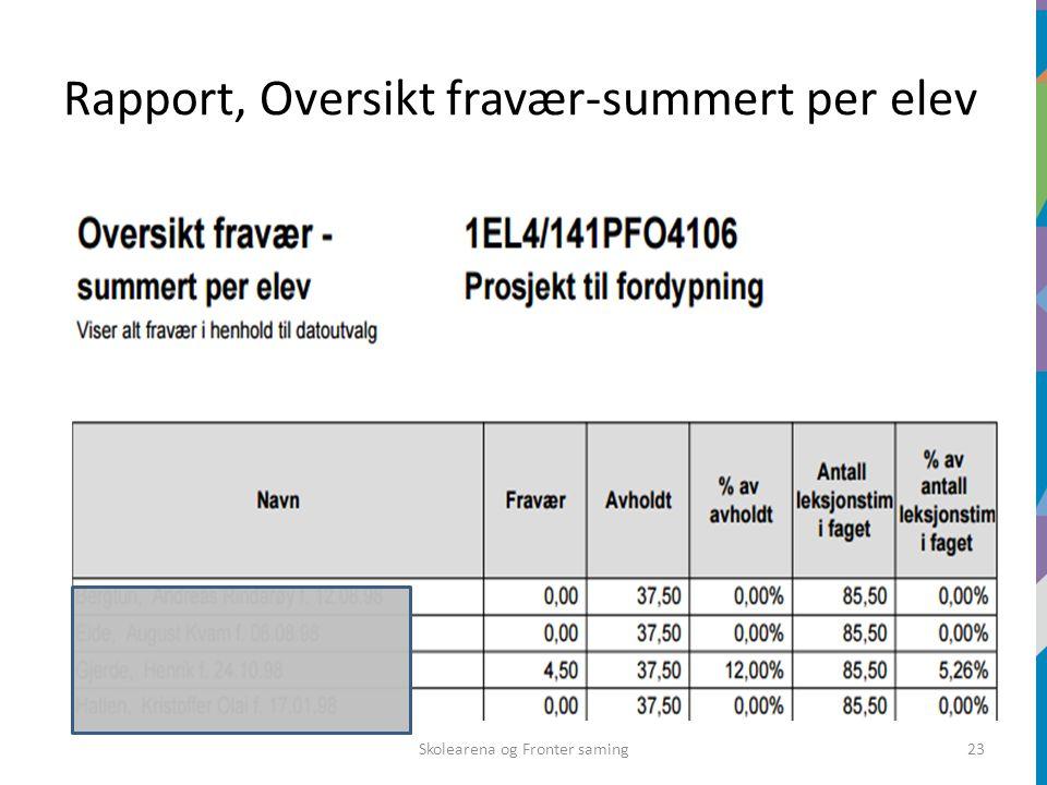 Rapport, Oversikt fravær-summert per elev Skolearena og Fronter saming23