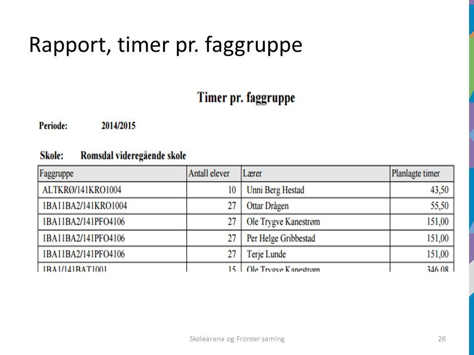 Rapport, timer pr. faggruppe Skolearena og Fronter saming26