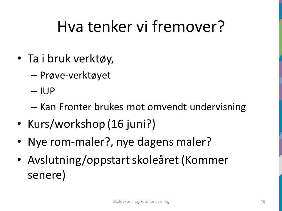Hva tenker vi fremover? Ta i bruk verktøy, – Prøve-verktøyet – IUP – Kan Fronter brukes mot omvendt undervisning Kurs/workshop (16 juni?) Nye rom-male