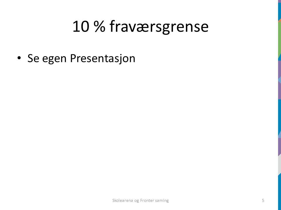 10 % fraværsgrense Se egen Presentasjon Skolearena og Fronter saming5