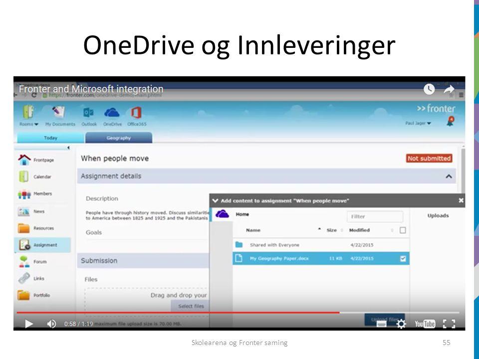 OneDrive og Innleveringer Skolearena og Fronter saming55