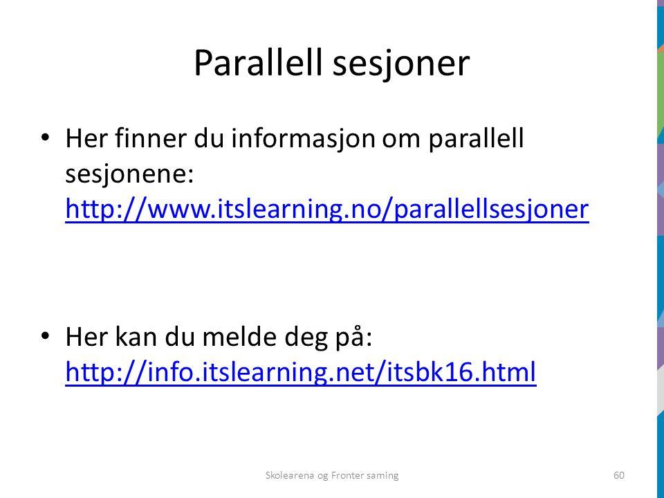 Parallell sesjoner Her finner du informasjon om parallell sesjonene: http://www.itslearning.no/parallellsesjoner http://www.itslearning.no/parallellsesjoner Her kan du melde deg på: http://info.itslearning.net/itsbk16.html http://info.itslearning.net/itsbk16.html Skolearena og Fronter saming60