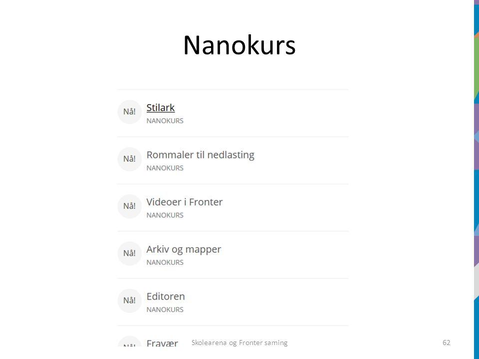 Nanokurs Skolearena og Fronter saming62