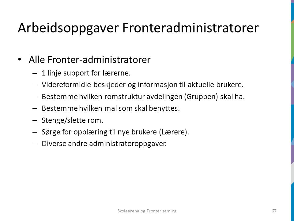 Arbeidsoppgaver Fronteradministratorer Alle Fronter-administratorer – 1 linje support for lærerne. – Videreformidle beskjeder og informasjon til aktue