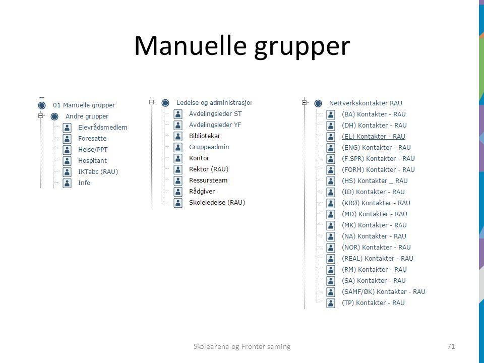 Manuelle grupper Skolearena og Fronter saming71