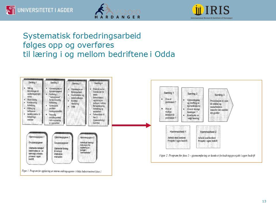 13 Systematisk forbedringsarbeid følges opp og overføres til læring i og mellom bedriftene i Odda