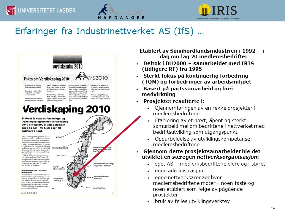 14 Erfaringer fra Industrinettverket AS (IfS) … Etablert av Sunnhordlandsindustrien i 1992 – i dag om lag 20 medlemsbedrifter Deltok i BU2000 – samarbeidet med IRIS (tidligere RF) fra 1995 Sterkt fokus på kontinuerlig forbedring (TQM) og forbedringer av arbeidsmiljøet Basert på partssamarbeid og brei medvirkning Prosjektet resulterte i: Gjennomføringen av en rekke prosjekter i medlemsbedriftene Etablering av et nært, åpent og sterkt samarbeid mellom bedriftene i nettverket med bedriftsutvikling som utgangspunkt Opparbeidelse av utviklingskompetanse i medlemsbedriftene Gjennom dette prosjektsamarbeidet ble det utviklet en særegen nettverksorganisasjon: eget AS – medlemsbedriftene eiere og i styret egen administrasjon egne nettverksarenaer hvor medlemsbedriftene møter – noen faste og noen etablert som følge av pågående prosjekter bruk av felles utviklingsverktøy