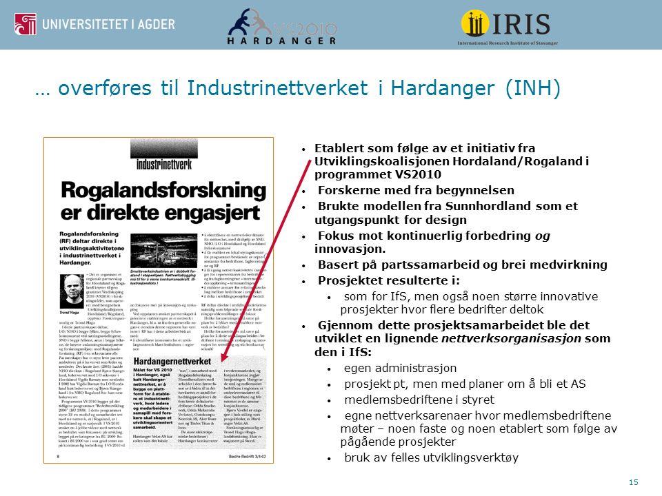 15 … overføres til Industrinettverket i Hardanger (INH) Etablert som følge av et initiativ fra Utviklingskoalisjonen Hordaland/Rogaland i programmet V