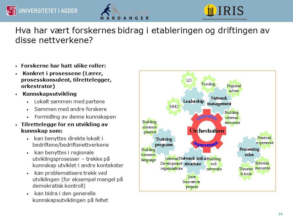 16 Hva har vært forskernes bidrag i etableringen og driftingen av disse nettverkene? Forskerne har hatt ulike roller: Konkret i prosessene (Lærer, pro