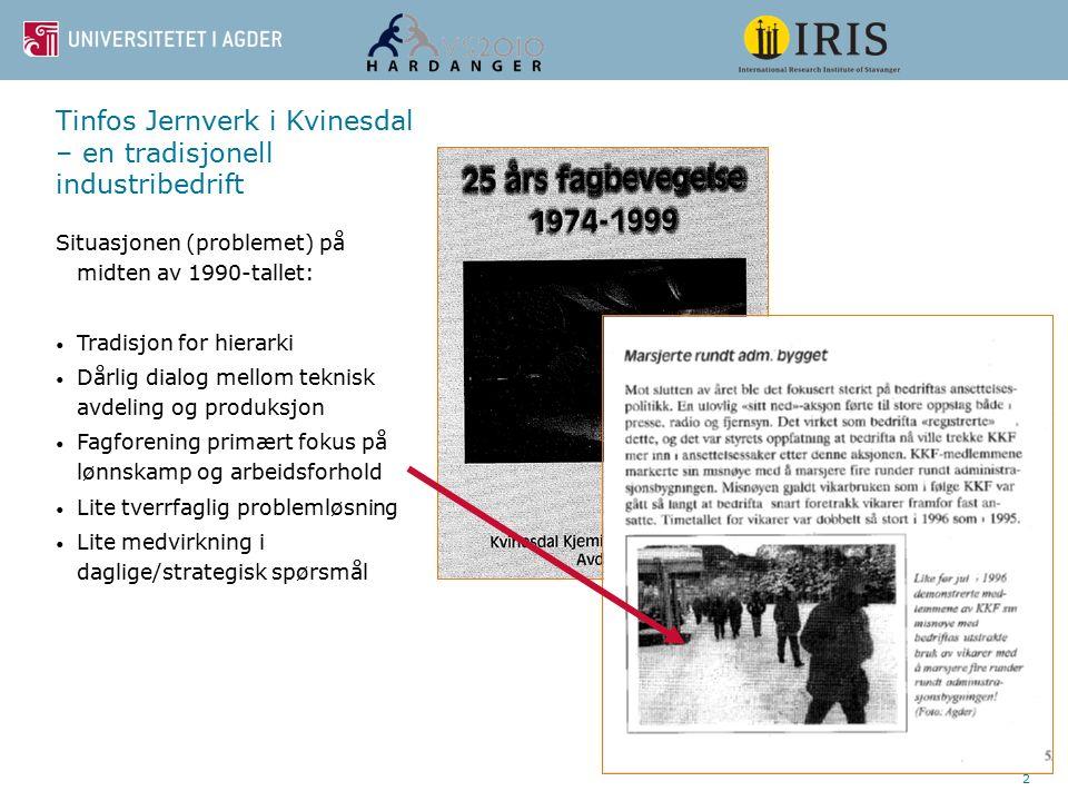 2 Tinfos Jernverk i Kvinesdal – en tradisjonell industribedrift Situasjonen (problemet) på midten av 1990-tallet: Tradisjon for hierarki Dårlig dialog