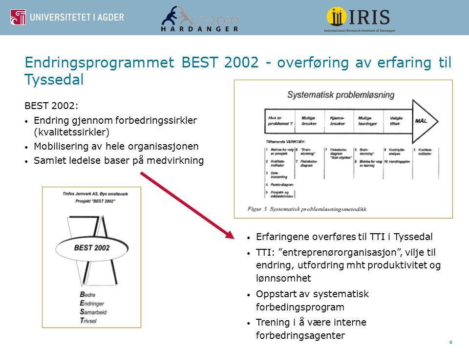 4 Endringsprogrammet BEST 2002 - overføring av erfaring til Tyssedal BEST 2002: Endring gjennom forbedringssirkler (kvalitetssirkler) Mobilisering av hele organisasjonen Samlet ledelse baser på medvirkning Erfaringene overføres til TTI i Tyssedal TTI: entreprenørorganisasjon , vilje til endring, utfordring mht produktivitet og lønnsomhet Oppstart av systematisk forbedingsprogram Trening i å være interne forbedringsagenter