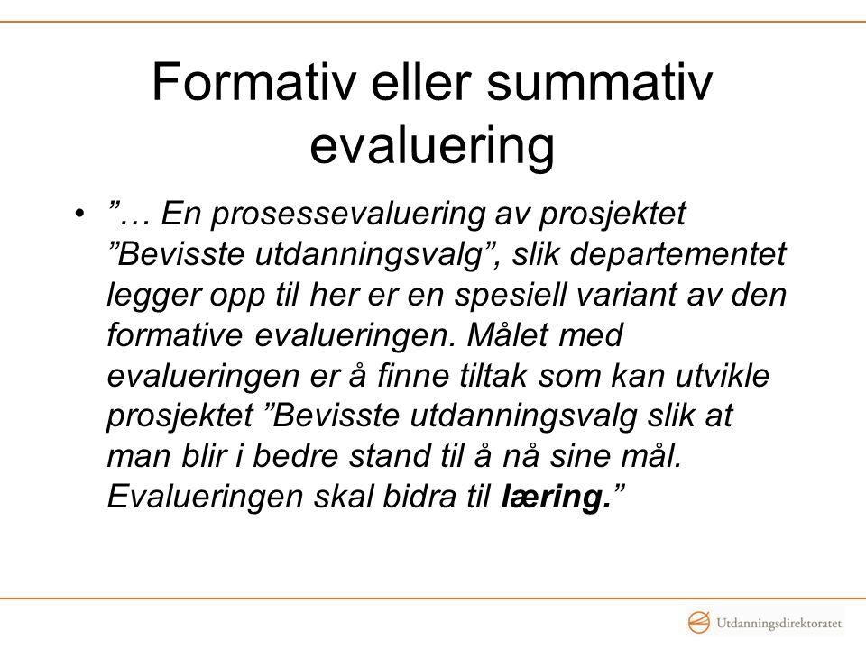 Formativ eller summativ evaluering … En prosessevaluering av prosjektet Bevisste utdanningsvalg , slik departementet legger opp til her er en spesiell variant av den formative evalueringen.