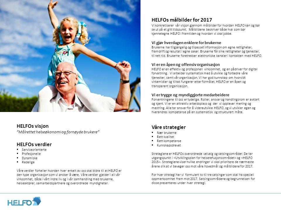 HELFOs målbilder for 2017 Vi konkretiserer vår visjon gjennom målbilder for hvordan HELFO kan og bør se ut på et gitt tidspunkt. Målbildene beskriver