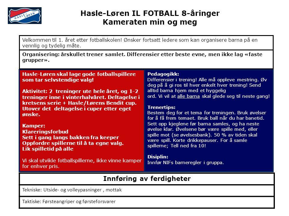 Hasle-Løren skal lage gode fotballspillere som tar selvstendige valg! Aktivitet: 2 treninger ute hele året, og 1-2 treninger inne i vinterhalvåret. De