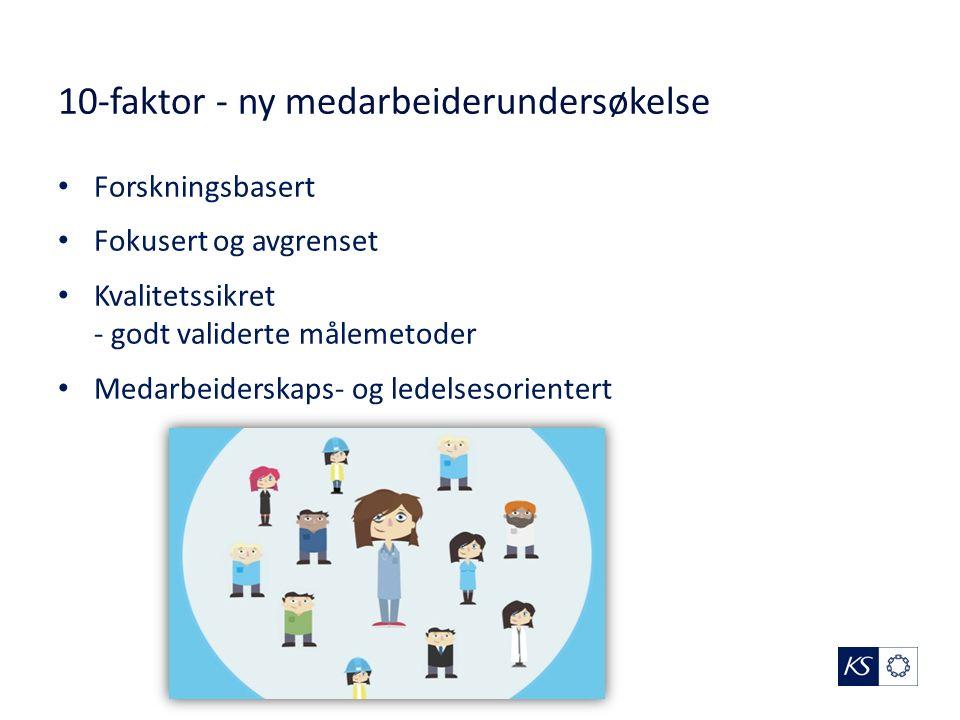 10-faktor - ny medarbeiderundersøkelse Forskningsbasert Fokusert og avgrenset Kvalitetssikret - godt validerte målemetoder Medarbeiderskaps- og ledelsesorientert