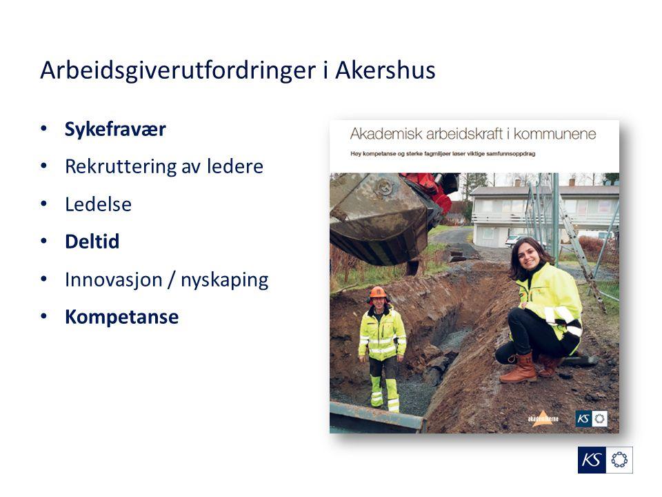 Arbeidsgiverutfordringer i Akershus Sykefravær Rekruttering av ledere Ledelse Deltid Innovasjon / nyskaping Kompetanse