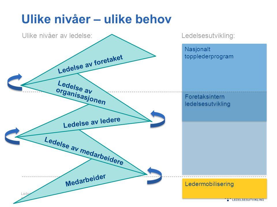 Nasjonalt topplederprogram Nasjonalt topplederprogram Foretaksintern ledelsesutvikling Foretaksintern ledelsesutvikling Ulike nivåer – ulike behov Led