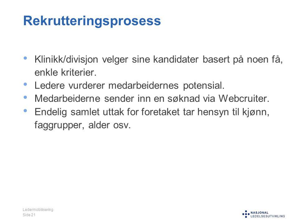 Rekrutteringsprosess Klinikk/divisjon velger sine kandidater basert på noen få, enkle kriterier. Ledere vurderer medarbeidernes potensial. Medarbeider