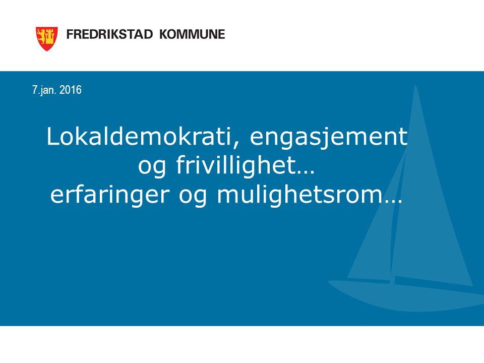 22 22. Juni 2015 Hvordan involverer innbyggerne seg i dag? Nærdemokrati i Fredrikstad