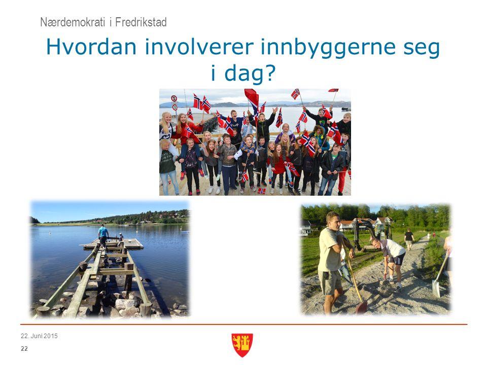 22 22. Juni 2015 Hvordan involverer innbyggerne seg i dag Nærdemokrati i Fredrikstad