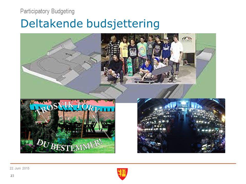 23 22. Juni 2015 Deltakende budsjettering Participatory Budgeting