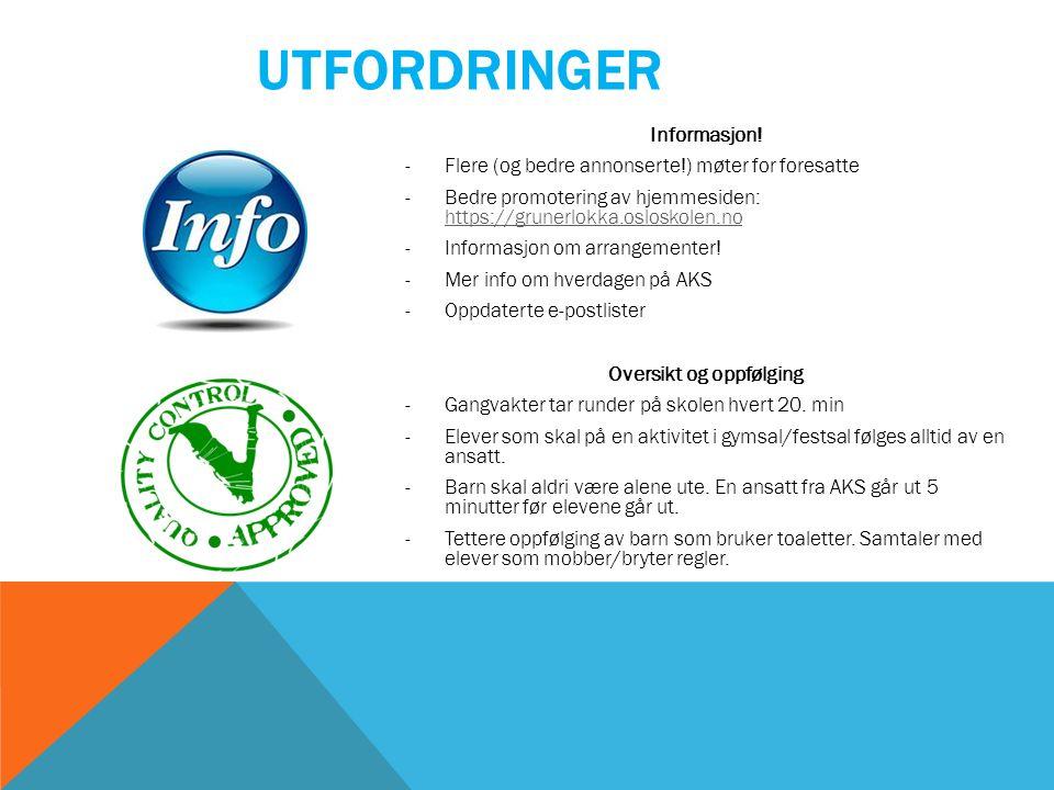 Informasjon! -Flere (og bedre annonserte!) møter for foresatte -Bedre promotering av hjemmesiden: https://grunerlokka.osloskolen.no https://grunerlokk