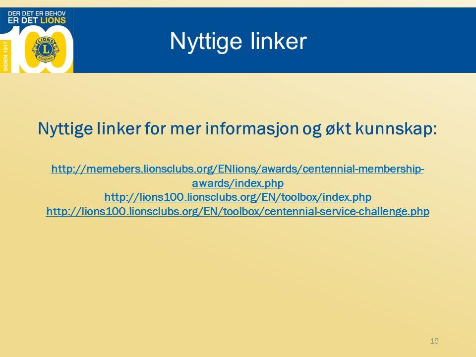 Nyttige linker Nyttige linker for mer informasjon og økt kunnskap: http://memebers.lionsclubs.org/ENlions/awards/centennial-membership- awards/index.php http://lions100.lionsclubs.org/EN/toolbox/index.php http://lions100.lionsclubs.org/EN/toolbox/centennial-service-challenge.php 15