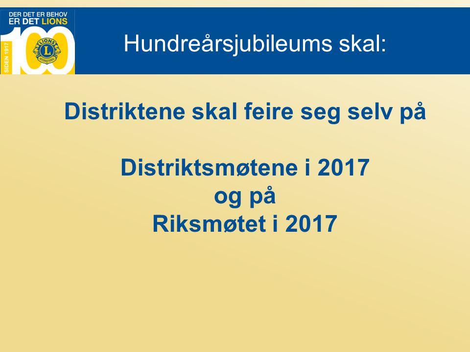 Hundreårsjubileums skal: Distriktene skal feire seg selv på Distriktsmøtene i 2017 og på Riksmøtet i 2017