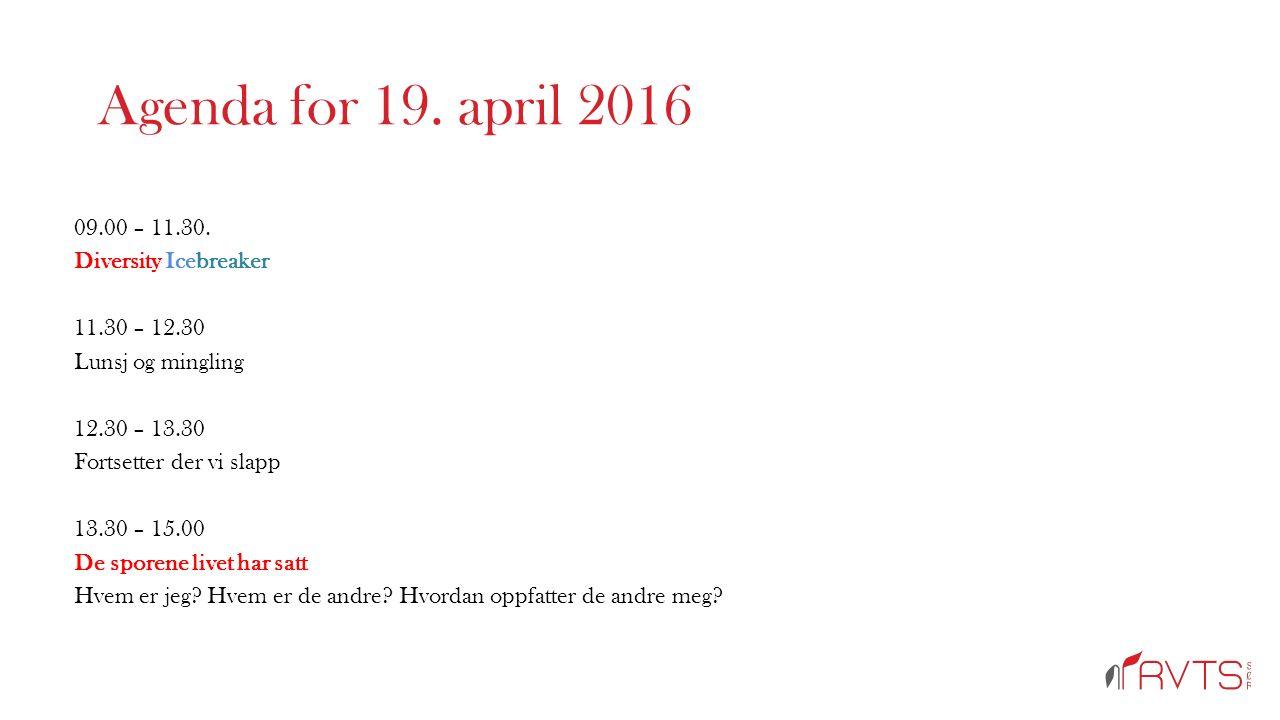 Agenda for 19. april 2016 09.00 – 11.30.