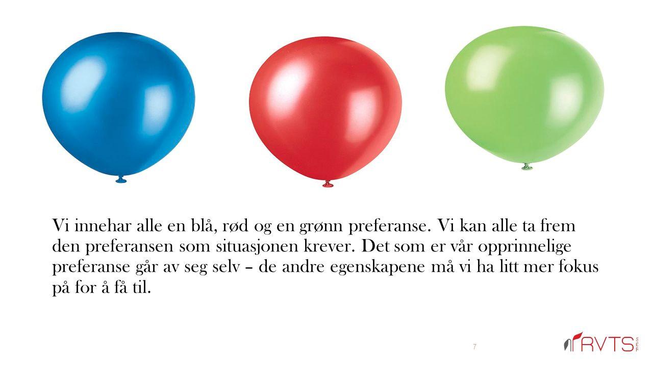 Vi innehar alle en blå, rød og en grønn preferanse.