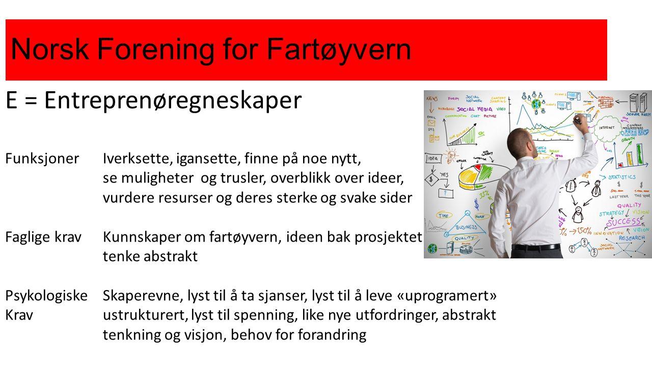 Norsk Forening for Fartøyvern E = Entreprenøregneskaper FunksjonerIverksette, igansette, finne på noe nytt, se muligheterog trusler, overblikk over id