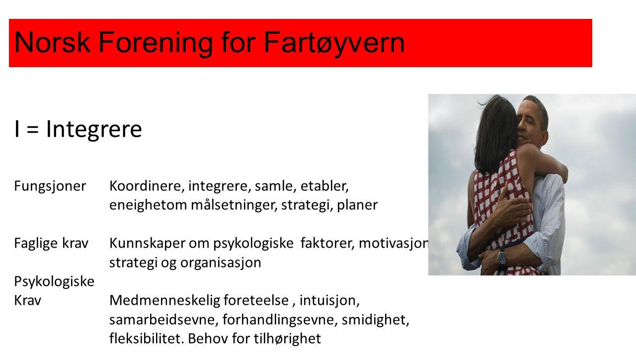 Norsk Forening for Fartøyvern I = Integrere FungsjonerKoordinere, integrere, samle, etabler, eneighetom målsetninger, strategi, planer Faglige krav Kunnskaper om psykologiske faktorer, motivasjon.