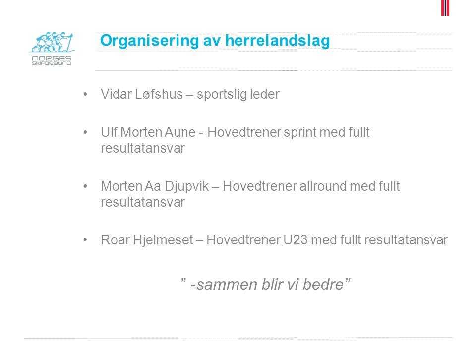 Vidar Løfshus – sportslig leder Ulf Morten Aune - Hovedtrener sprint med fullt resultatansvar Morten Aa Djupvik – Hovedtrener allround med fullt resultatansvar Roar Hjelmeset – Hovedtrener U23 med fullt resultatansvar -sammen blir vi bedre Organisering av herrelandslag