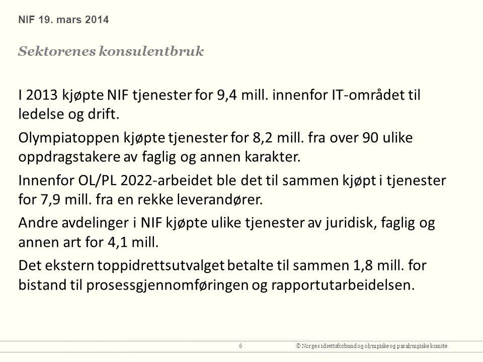 6© Norges idrettsforbund og olympiske og paralympiske komité I 2013 kjøpte NIF tjenester for 9,4 mill.