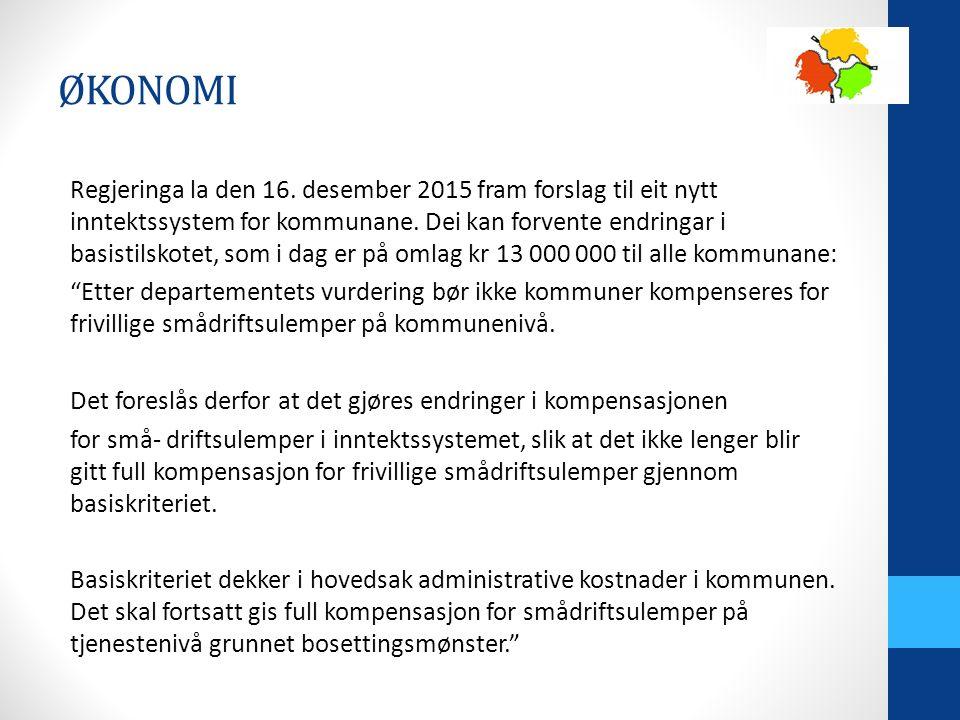 Regjeringa la den 16. desember 2015 fram forslag til eit nytt inntektssystem for kommunane.